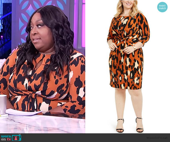 Leopard-Print Tie-Front Dress by MSK worn by Loni Love  on The Real