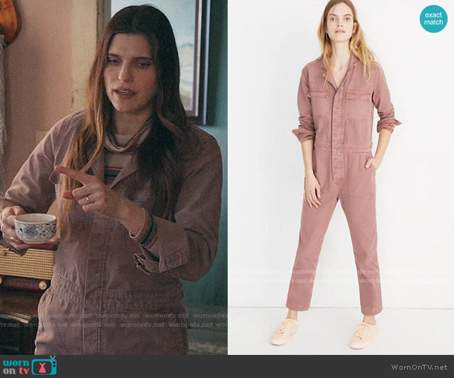 Madewell Coverall Jumpsuit in Dried Rosebud worn by Rio (Lake Bell) on Bless This Mess