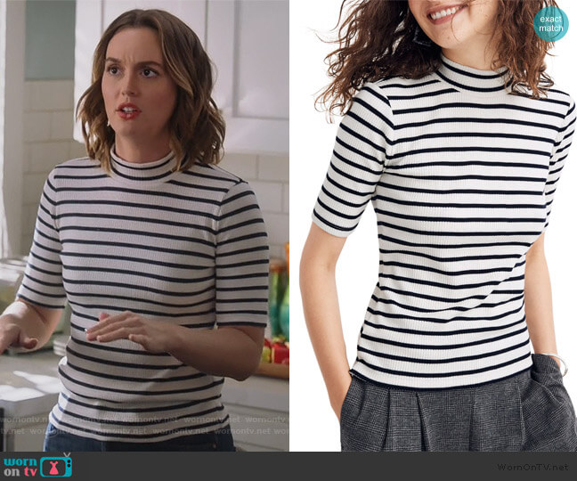 Sailor Stripe Ribbed Mock Neck Top by Madewell worn by Angie (Leighton Meester) on Single Parents