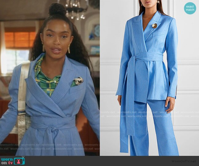 Just Getting Started Blazer and Pants by Maggie Marilyn worn by Zoey Johnson (Yara Shahidi) on Grown-ish
