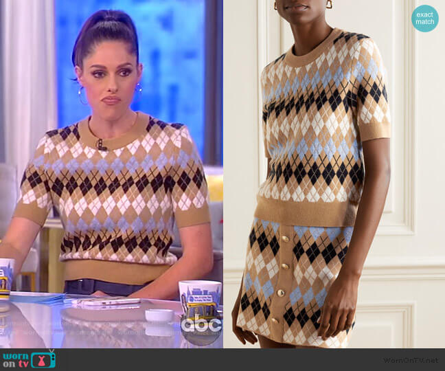 Argyle wool-blend Top by Maje worn by Abby Huntsman  on The View