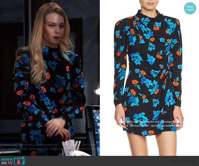 Maje Floral Faux Wrap Dress worn by Nelle Benson (Chloe Lanier) on General Hospital