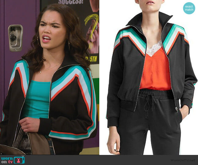 Maneli Chevron-Stripe Track Jacket by Maje worn by Alexa Mendoza (Paris Berelc) on Alexa & Katie