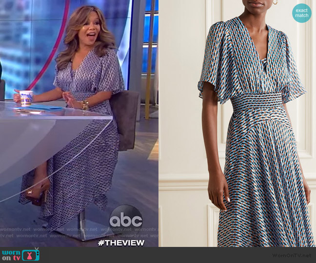 Metallic Printed Georgette Maxi Dress by Maje worn by Sunny Hostin  on The View