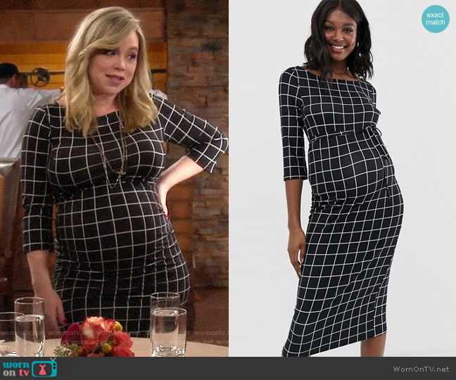 Mamalicious maternity jersey grid check midi dress worn by Kristin Baxter (Amanda Fuller) on Last Man Standing