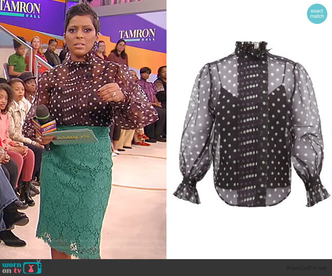 Polka-dot silk-organza blouse by Marc Jacobs worn by Tamron Hall  on Tamron Hall Show