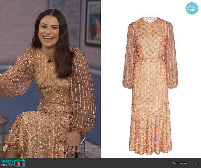 Bead-Embellished Dress by Markarian worn by Lea Michele on Today Show
