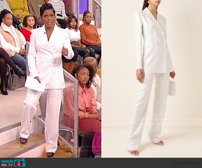 Double-breasted crystal-embellished crepe Blazer and Pants by Michael Kors worn by Tamron Hall  on Tamron Hall Show