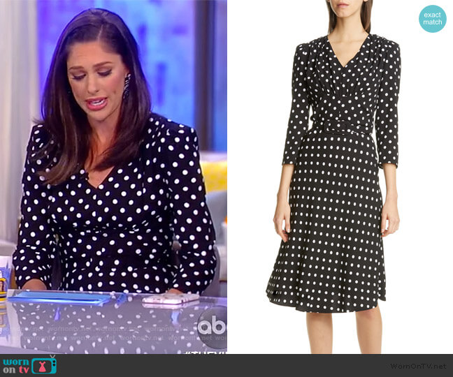 V-Neck Polka Dot Flared Dress by Michael Kors worn by Abby Huntsman  on The View