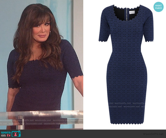 Scalloped laser-cut ponte Dress by Milly worn by Marie Osmond  on The Talk