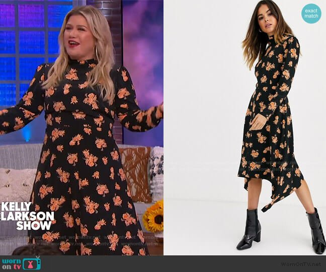 Midi Dress with High Neck in Floral Print by Miss Selfridge at ASOS worn by Kelly Clarkson  on The Kelly Clarkson Show
