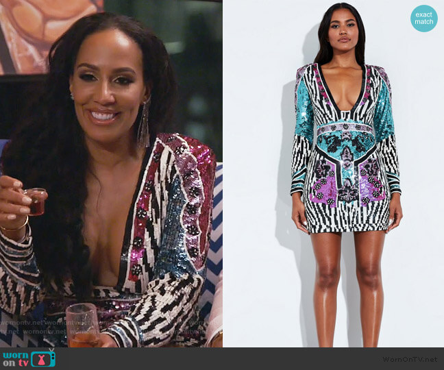 Print Embellished Mini Dress by Peace + Love worn by Tanya Sam on The Real Housewives of Atlanta