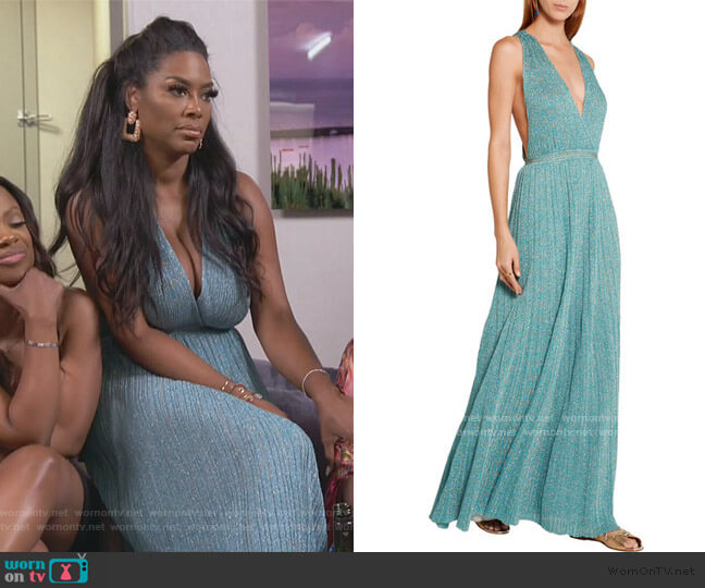 Metallic crochet-knit maxi dress by Missoni worn by Kenya Moore  on The Real Housewives of Atlanta