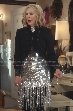 Moira's sequin fringed skirt on Schitts Creek
