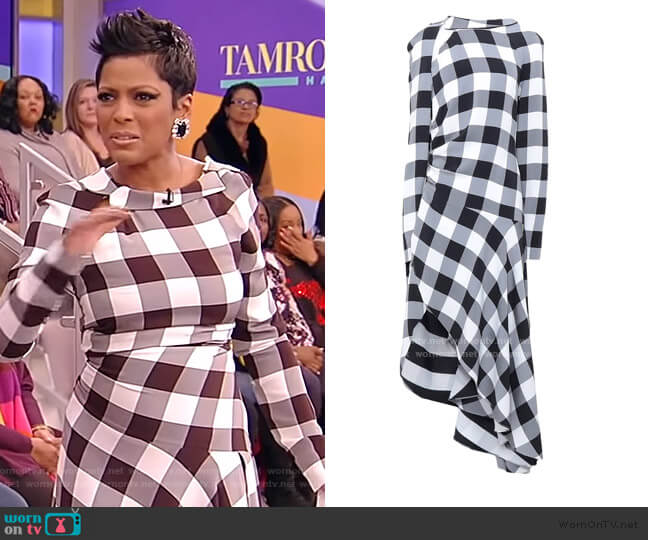 Check Asymmetric Midi Dress by Monse worn by Tamron Hall  on Tamron Hall Show
