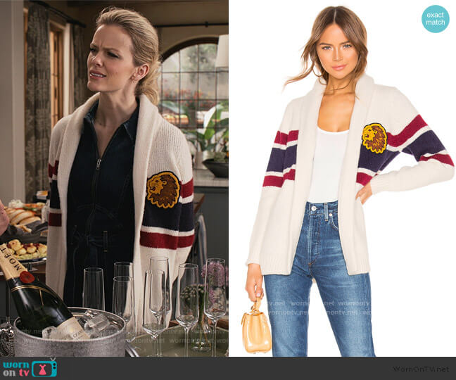 The Fisherman Cardigan by Mother worn by Mallory (Brooklyn Decker) on Grace & Frankie