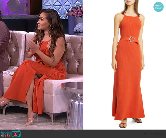 Lily Ribbed Belted Maxi Dress by Nicholas worn by Adrienne Houghton  on The Real