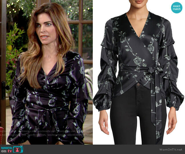 Nicole Miller Floral-Print Wrap Top worn by Victoria Newman (Amelia Heinle) on The Young & the Restless