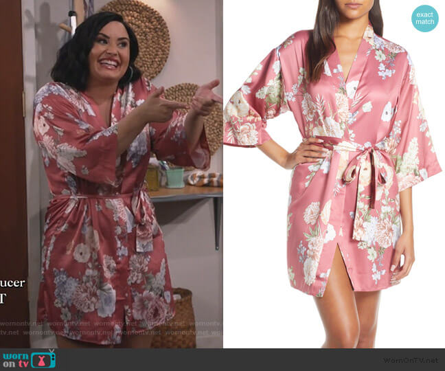 Arisa Floral Print Satin Robe by Flora by Nikrooz worn by Demi Lovato on Will and Grace