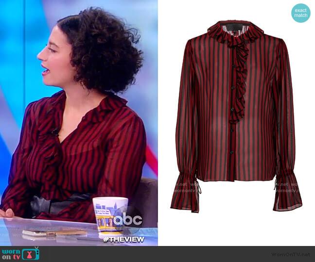 Cicily Ruffled Silk Shirt by Nili Lotan worn by Ilana Glazer on The View
