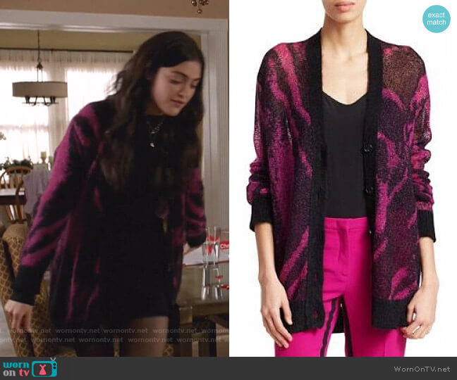 Mohair Blend Zebra Print Cardigan by Nº21 worn by Olive Stone (Luna Blaise) on Manifest