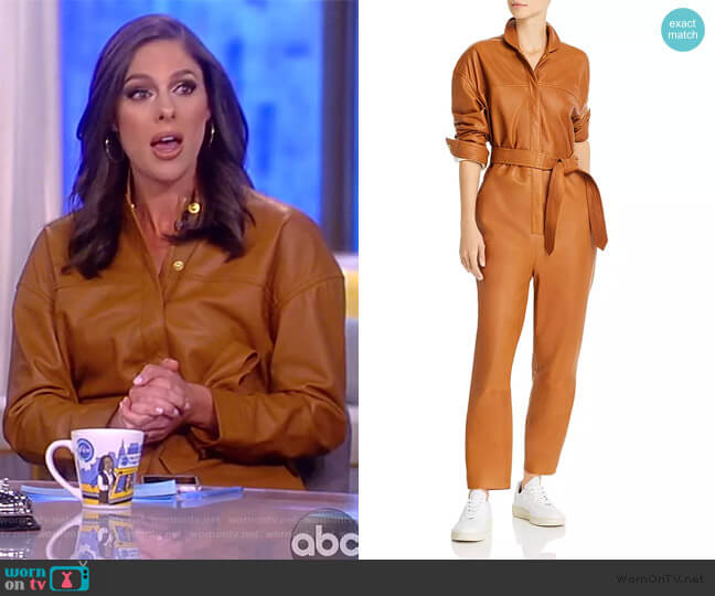 Nixon Belted Leather Jumpsuit by Notes du Nord worn by Abby Huntsman  on The View