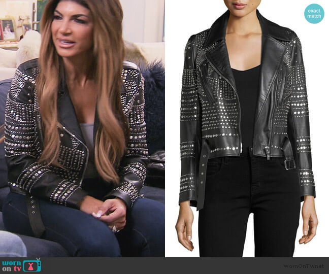 Elysee Studded Leather Moto Jacket by Nour Hammour worn by Dolores Catania  on The Real Housewives of New Jersey