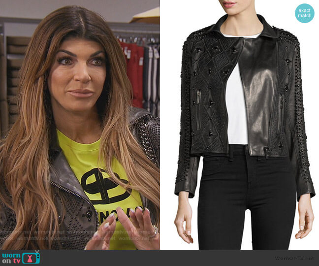 Saturday Studded Leather Jacket by Nour Hammour worn by Teresa Giudice  on The Real Housewives of New Jersey