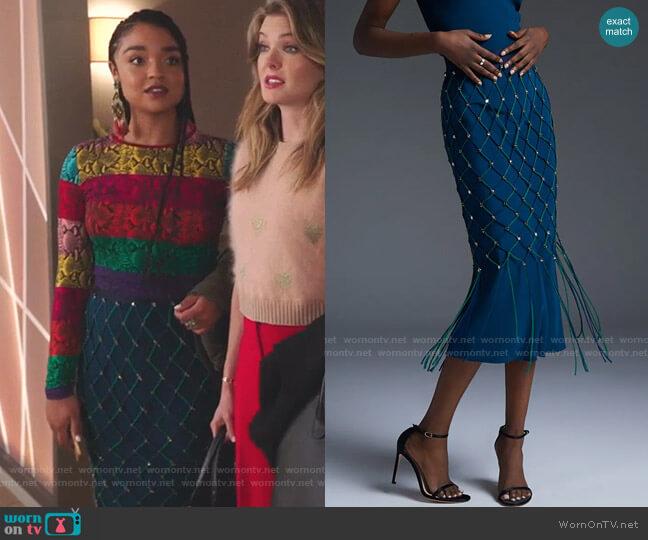 Ocean Vivica High Waisted Pencil Skirt by Cushnie worn by Kat Edison (Aisha Dee) on The Bold Type