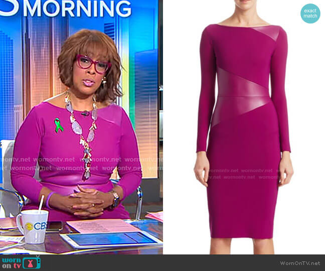 Off-The-Shoulder BodyCon Dress by Chiara Boni La Petite Robe worn by Gayle King  on CBS This Morning