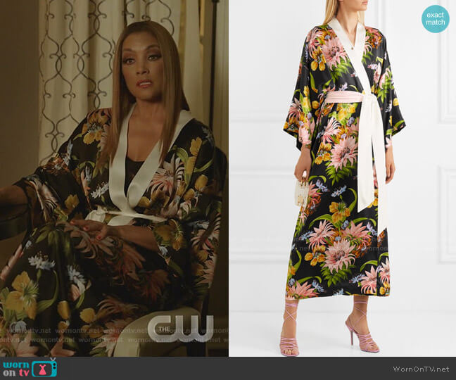 Queenie Floral-Print Silk-Satin Robe by Olivia von Halle worn by Dominique Deveraux (Michael Michele) on Dynasty