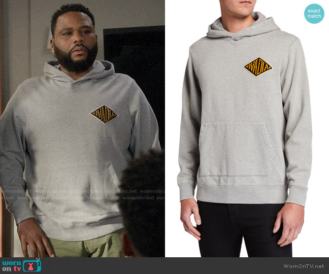 Ovadia Snow Wash French Terry Hoodie Sweatshirt w/ Logo Applique worn by Andre Johnson (Anthony Anderson) on Blackish