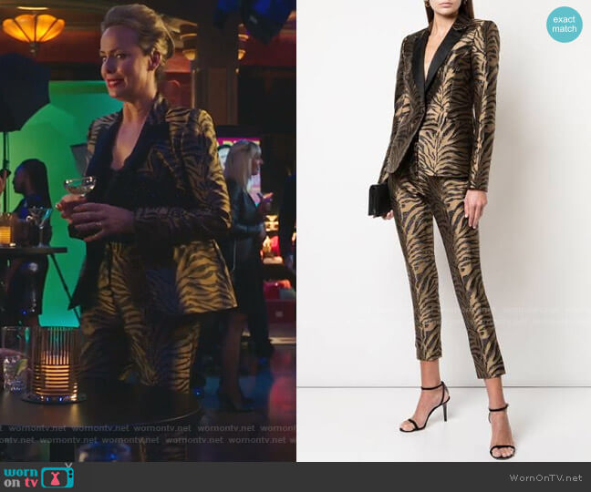 Zebra Pattern Fitted Blazer and Pants by Prabal Gurung worn by Jacqueline (Melora Hardin) on The Bold Type