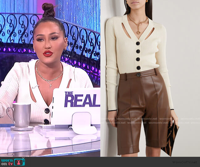 Cutout ribbed silk and cotton-blend cardigan by Proenza Schouler worn by Adrienne Houghton  on The Real