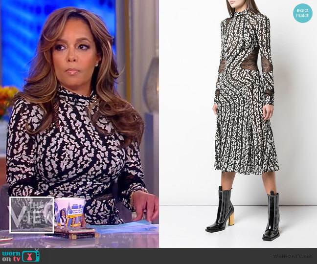 Marble Print Stretch Chiffon Dress by Proenza Schouler worn by Sunny Hostin  on The View