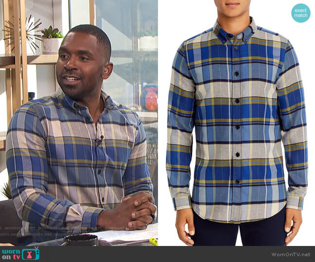 Plaid Flannel Button-Down Shirt by PS Paul Smith worn by Justin Sylvester  on E! News