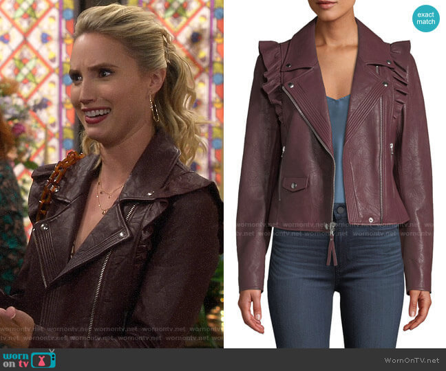 Paige Annika Leather Jacket  worn by Mandy Baxter (Molly McCook) on Last Man Standing