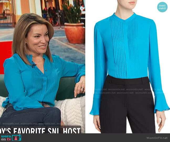 Paige Pintucked Blouse by Elie Tahari worn by Kit Hoover  on Access Hollywood