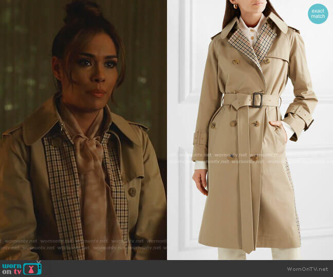 Paneled Cotton-Gabardine and Checked Twill Trench Coat by Mackintosh worn by Cristal Jennings (Daniella Alonso) on Dynasty