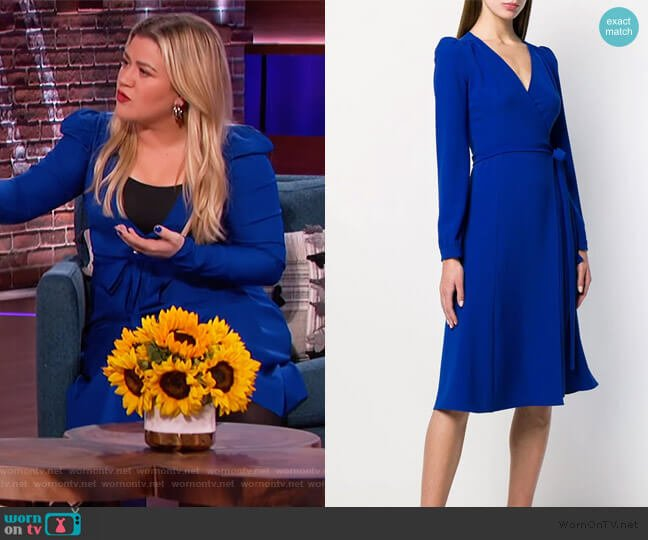 Fitted Wrap Dress by PAROSH worn by Kelly Clarkson  on The Kelly Clarkson Show