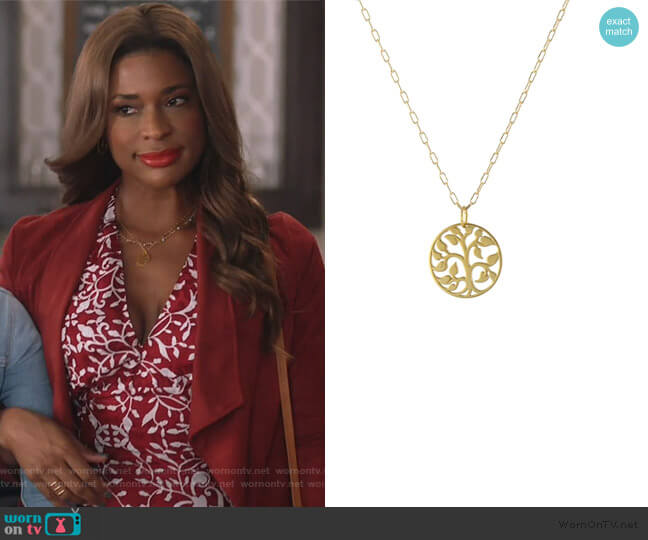 Tree of Life Necklace by Peggy Li worn by Poppy (Kimrie Lewis) on Single Parents