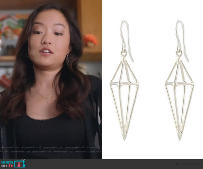 Triangle Cage Earrings by Peggy Li worn by Janet (Andrea Bang) on Kims Convenience