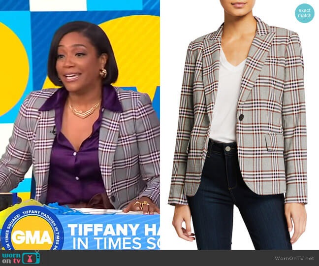 Plaid Twill Blazer by Derek Lam 10 Crosby worn by Tiffany Haddish on GMA