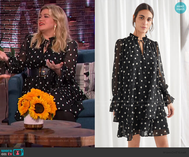 Polka Dot Layered Ruffle Mini Dress by & Other Stories worn by Kelly Clarkson  on The Kelly Clarkson Show