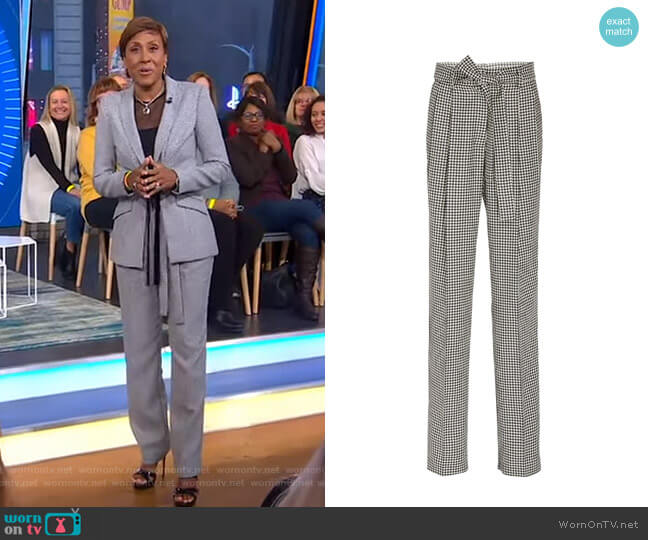Simone Belted Houndstooth Wool Tapered Pants by Prabal Gurung worn by Robin Roberts  on Good Morning America