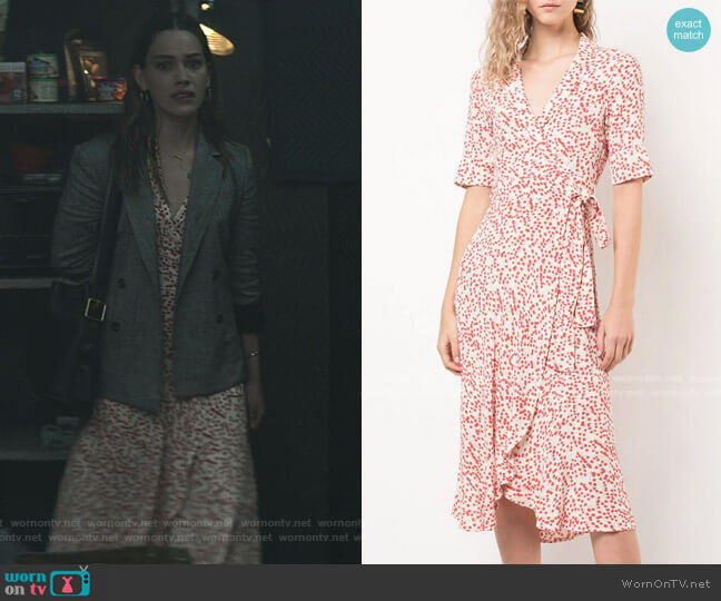 Printed Wrap Dress by Ganni worn by Love Quinn (Victoria Pedretti) on You