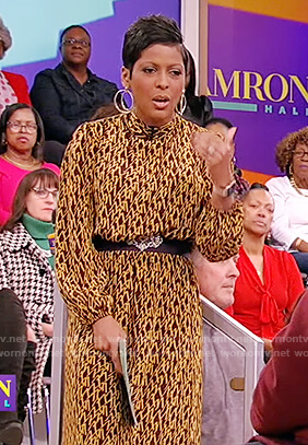 Tamron's yellow and black printed dress on Tamron Hall Show