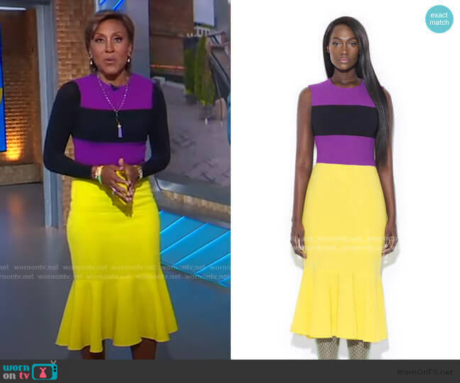 Purple/Yellow/Black Color Blocking Dress by Tristan Arch worn by Robin Roberts  on Good Morning America