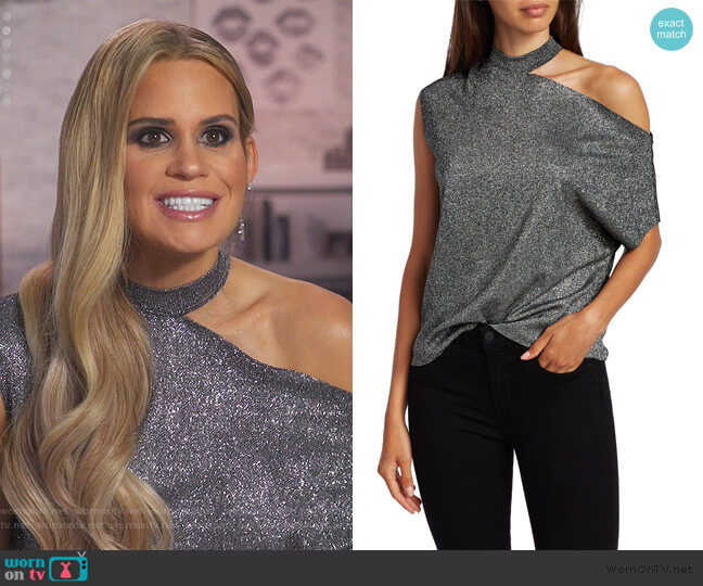Axel Metallic Cutout Tee by RTA worn by Jackie Goldschneider  on The Real Housewives of New Jersey