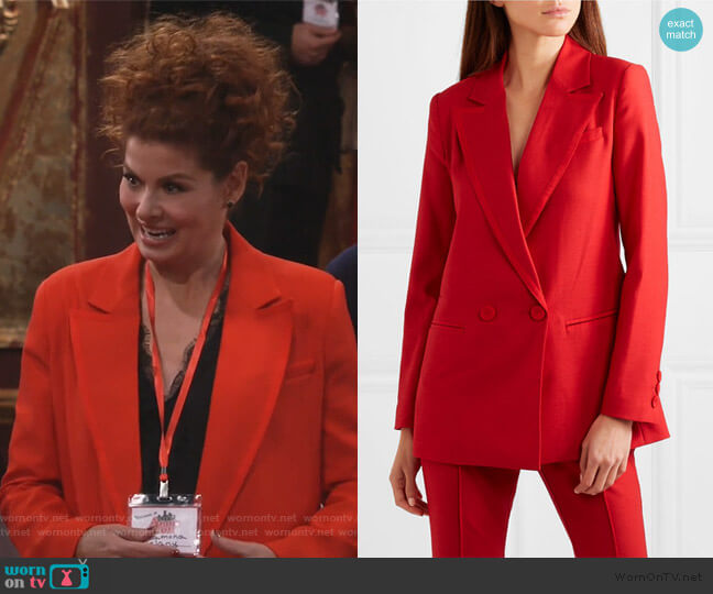 Giorgia Hopsack Suiting Blazer by Rachel Zoe worn by Grace Adler (Debra Messing) on Will & Grace